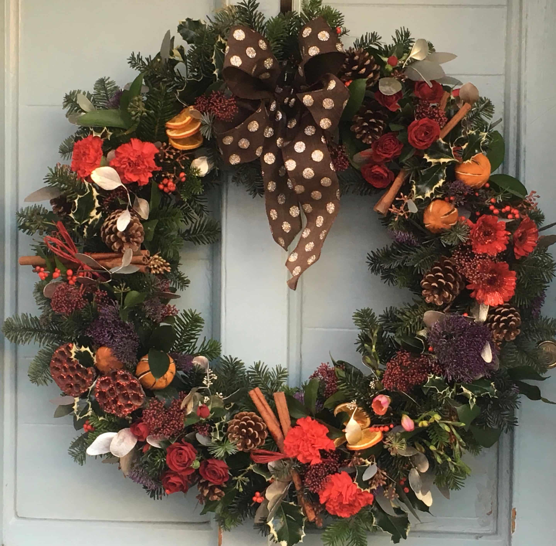 Christmas Door.Christmas Door Wreath